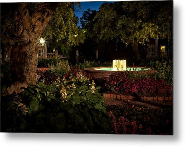 Evening In The Garden Prescott Park Gardens At Night Metal Print