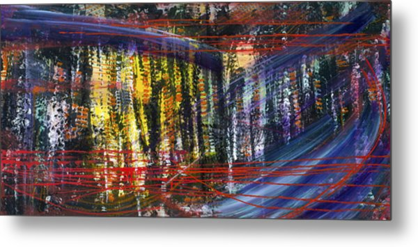 Evening Pond By A Road Metal Print