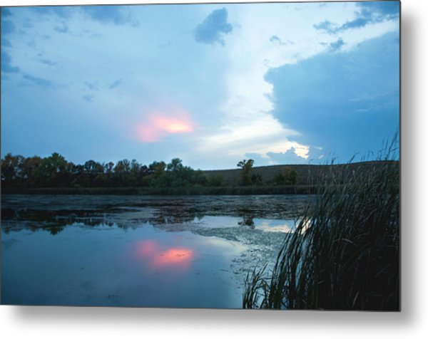 Evening Reflections On The Pond Metal Print