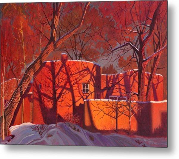 Evening Shadows On A Round Taos House Metal Print