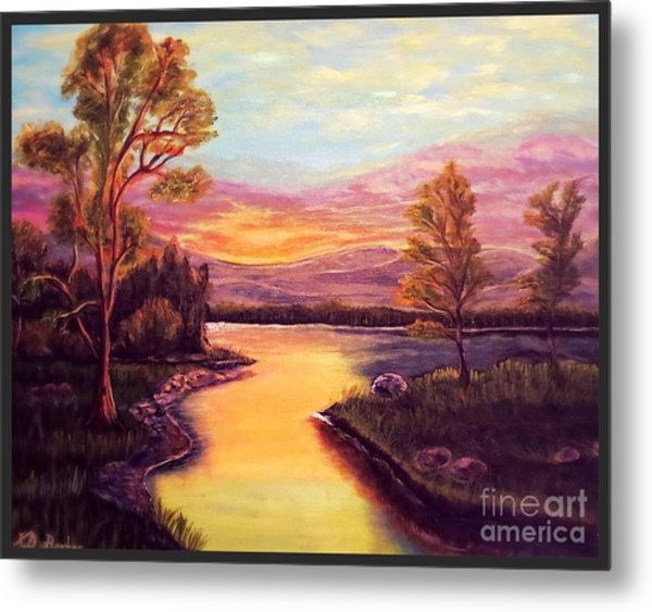 Evening Sun Sets Over A Lake Somewhere Off The Gulf Of Mexico Metal Print