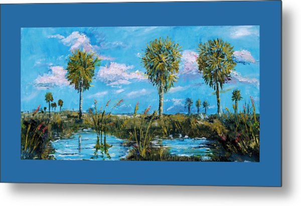 Metal Print featuring the painting Everglades Sage Palms by Steve Ozment