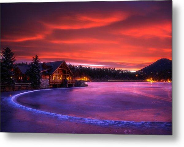 Evergreen Lake Sunrise Metal Print