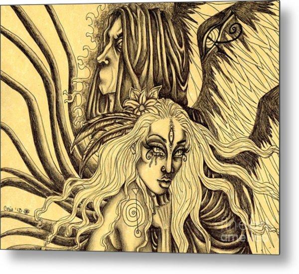 Evermore Sketch Metal Print by Coriander  Shea
