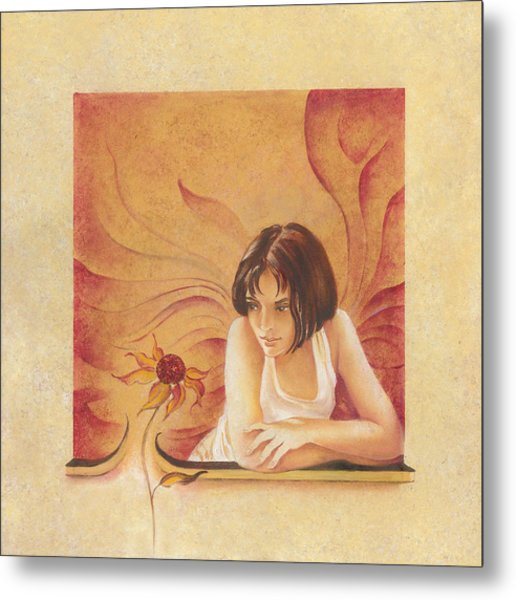 Everyday Angel With Flower Metal Print