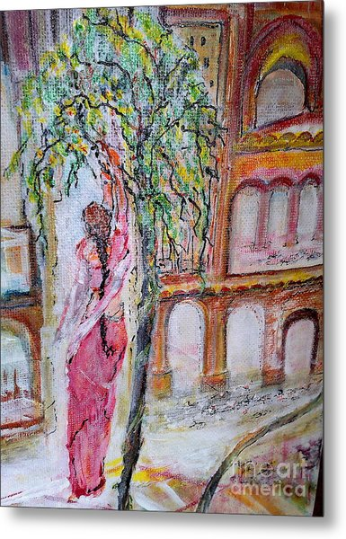 Everyday She Collects Flowers For Her God Metal Print