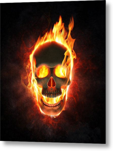 Evil Skull In Flames And Smoke Metal Print