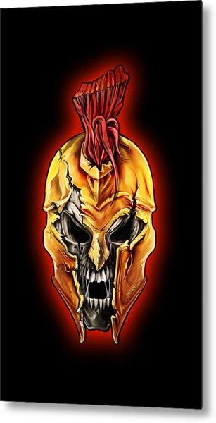 Evil Spartan Skull Metal Print