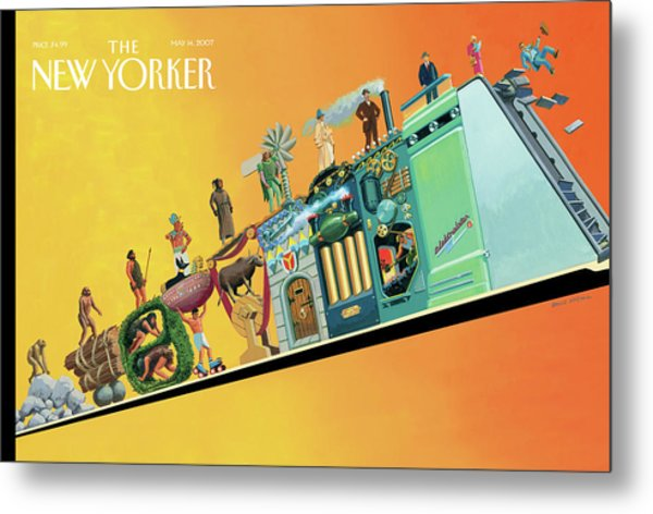 Evolution Of Man And Inventions Metal Print