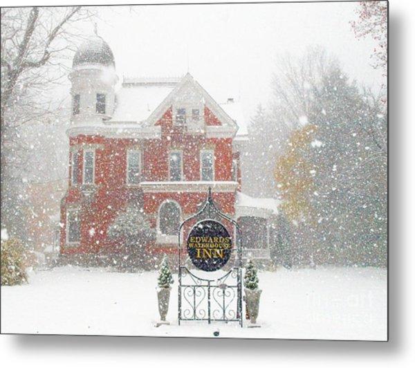 Edwards Waterhouse Inn In Winter Metal Print