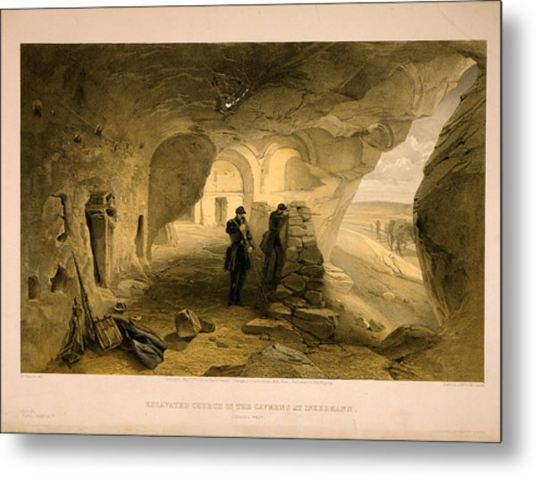 Excavated Church In The Caverns At Inkermann Metal Print