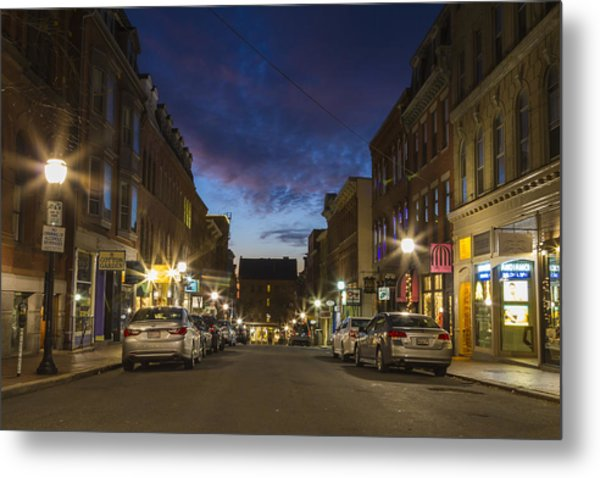 Exchange Street Portland Maine Metal Print