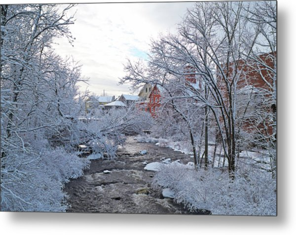 Exeter River With Snow And Ice Metal Print