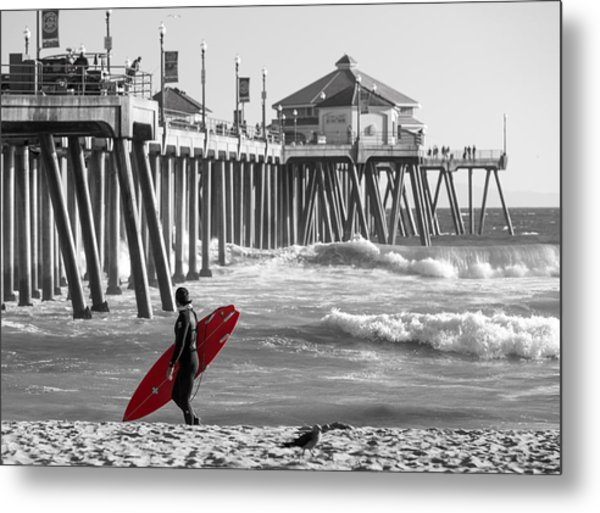 Existential Surfing At Huntington Beach Selective Color Metal Print