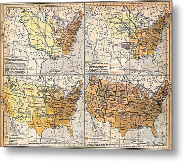 Expansion Of United States Territory Metal Print by Pg Reproductions