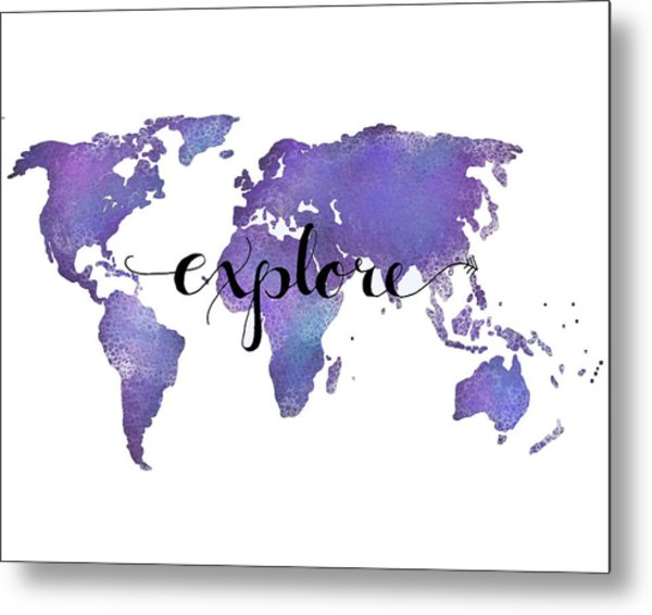 Explore World Map Painting Metal Print