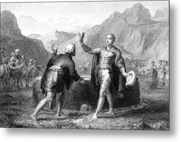 Explorer James Bruce Reaches The Source Metal Print by Mary Evans Picture Library