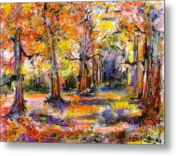 Expressive Enchanted Autumn Forest Metal Print
