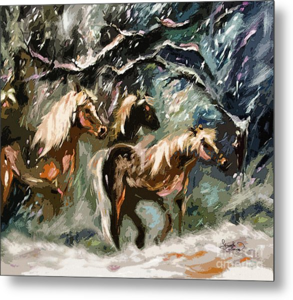 Expressive Haflinger Horses In Snow Storm Metal Print