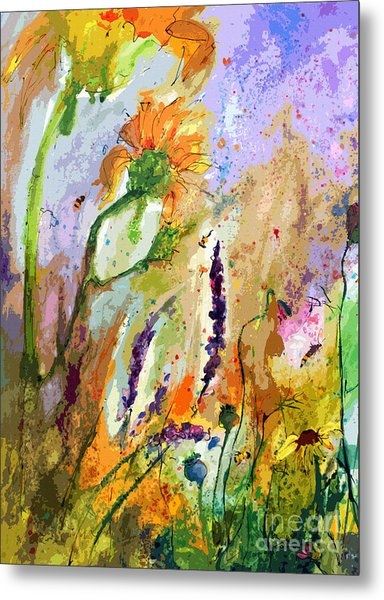 Expressive Sunflowers Lavender And Bees Metal Print