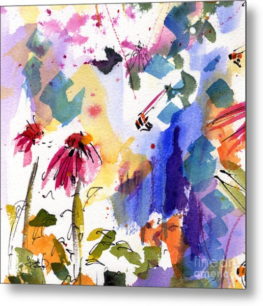 Expressive Watercolor Flowers And Bees Metal Print