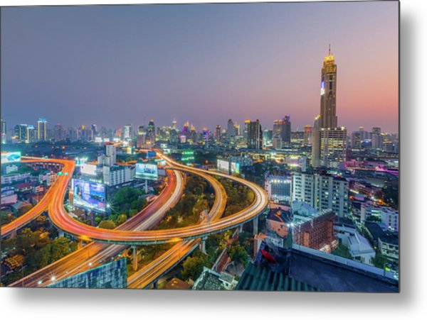 Expressway In Bangkok Metal Print by Chalermkiat Seedokmai