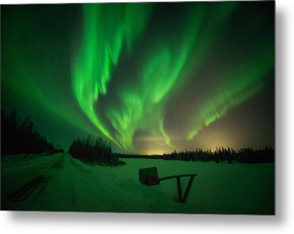 Extreme Aurora Activity Salcha Metal Print