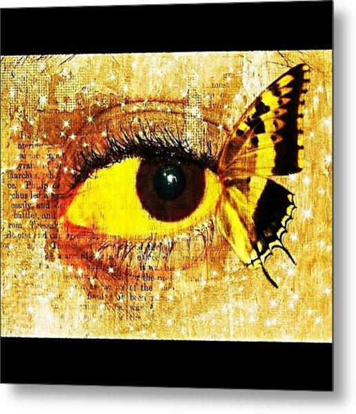 #eye #butterfly #brown #black #edit Metal Print