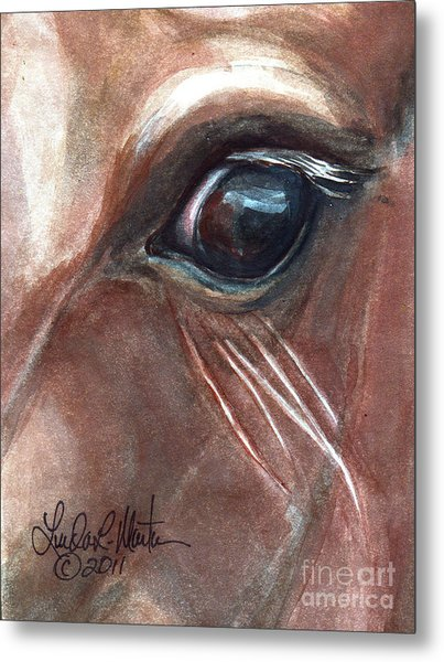 Metal Print featuring the painting Eyebrow Cat by Linda L Martin