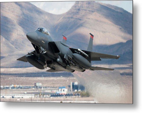 F-15e Strike Eagle Flying Past Mountains Metal Print by CT757fan