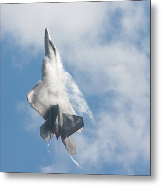 F-22 Raptor Creates Its Own Cloud Camouflage Metal Print