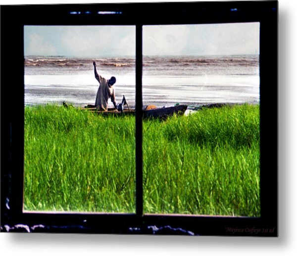 Fisherman Window Framed Metal Print
