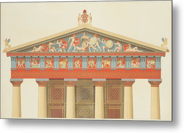 Facade Of The Temple Of Jupiter Metal Print
