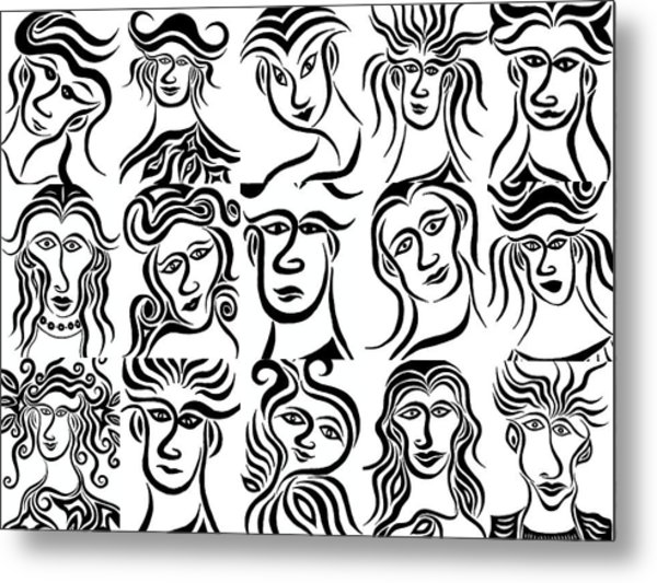 Face Dances Metal Print by Beth Akerman
