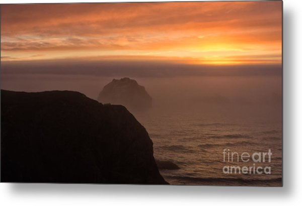 Face Out Of The Fog Metal Print
