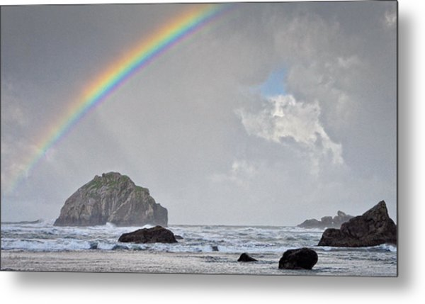 Face Rock Rainbow Metal Print