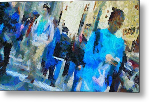 Faces In The Street Metal Print