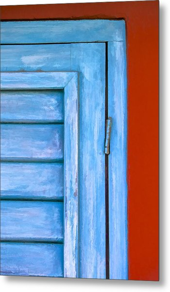 Faded Blue Shutter IIi Metal Print