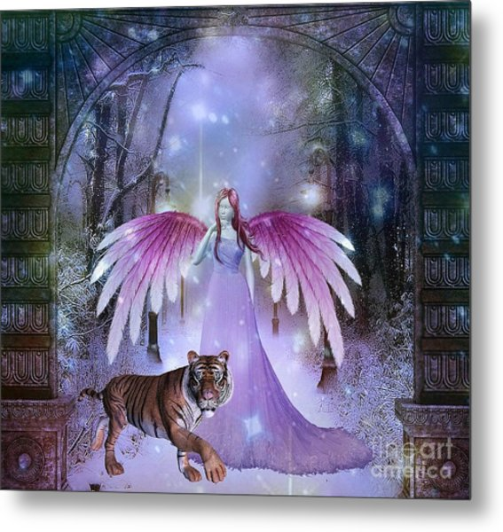 Fairy And Tiger Metal Print
