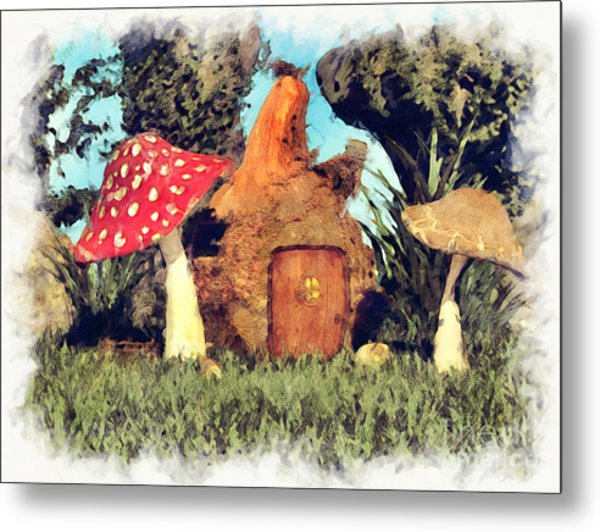 Fairy House With Toadstool Metal Print