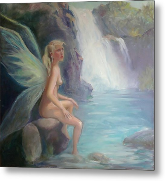 Fairy Of The Secret Falls Metal Print by Gwen Carroll