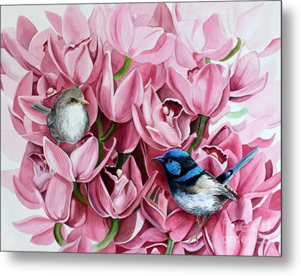Fairy Wrens And Orchids Metal Print