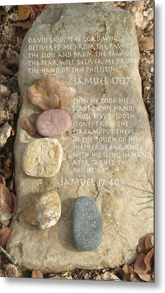 Faith And Five Stones Metal Print