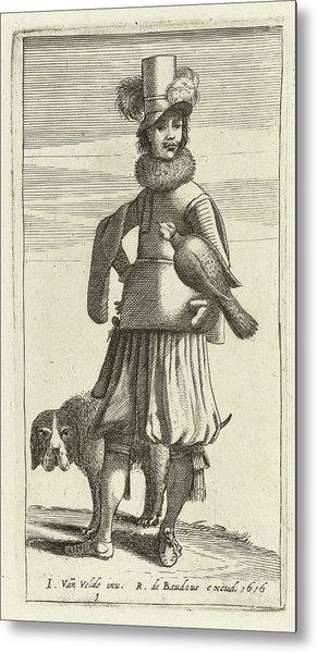 Falconer With Hunting, Jan Van De Velde II Metal Print