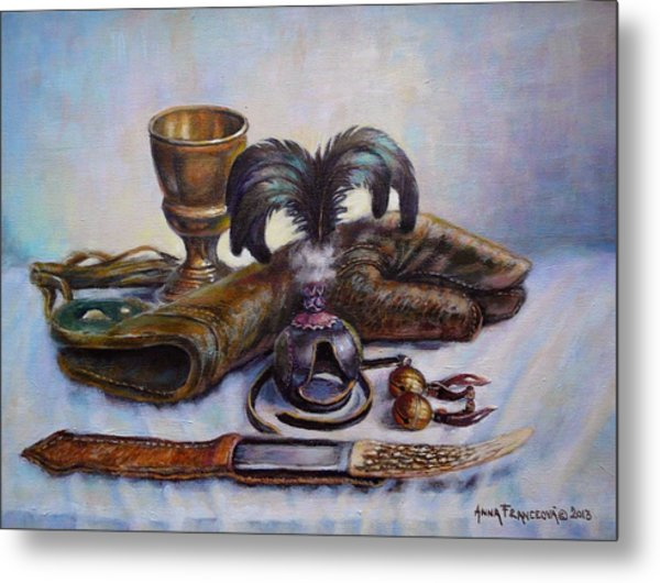 Falconry Still Life. Metal Print by Anna Franceova