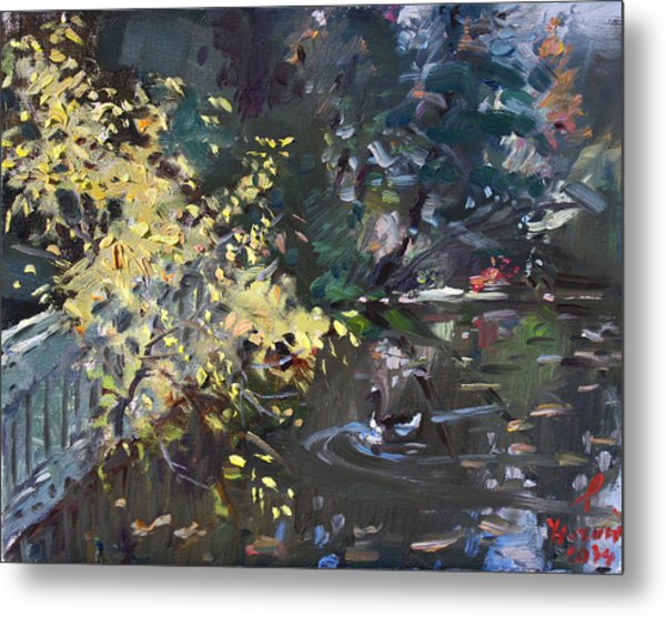 Fall By The Pond Metal Print