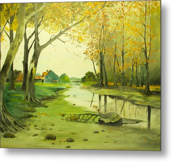 Fall By The Stream By Merlin Reynolds Metal Print