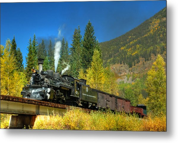 Fall Colored Bridge Metal Print