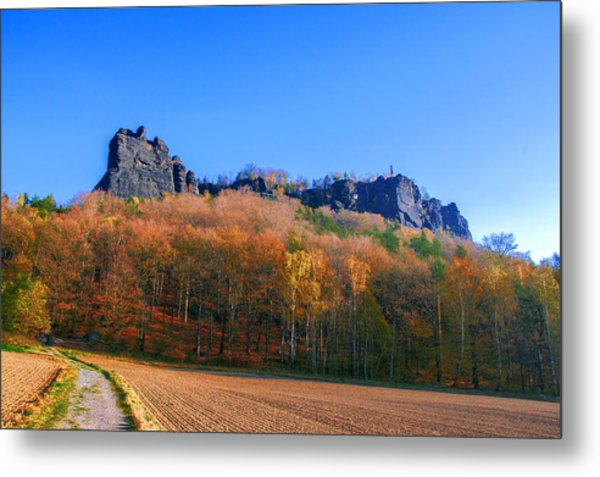 Fall Colors Around The Lilienstein Metal Print