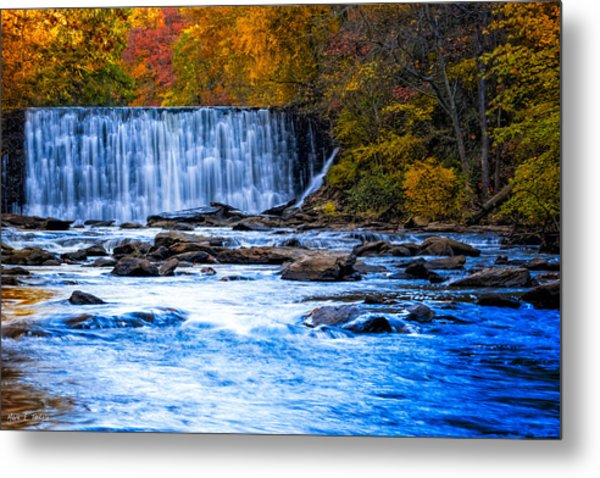 Fall Comes To Vickery Creek In Roswell Metal Print